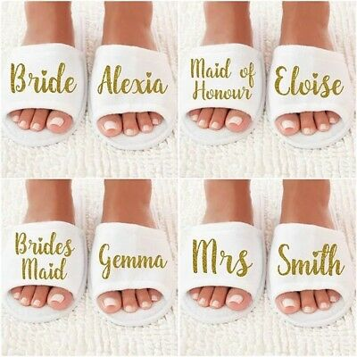 Personalized Title Names Wedding Bridesmaid Bride Spa Slippers