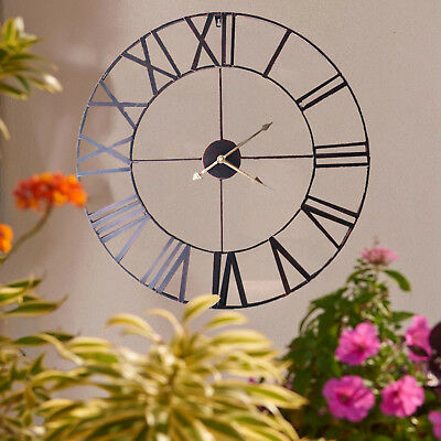 LARGE STYLE TRADITIONAL VINTAGE IRON WALL CLOCK ROMAN NUMERALS HOME COPPER 60cm