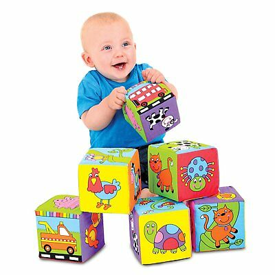 Galt Toys Baby Soft Blocks Baby First Building Blocks Soft Squeeze Fabric Cubes
