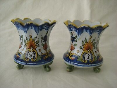 Old French Faience Quimper Vases