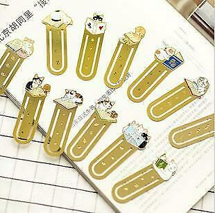 Cute Kitten Cats Reading Books Gold Copper Metal Bookmarks Book Markers Gift