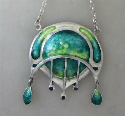 Lovely Art Nouveau Style Sterling Silver and Enamel Pendant