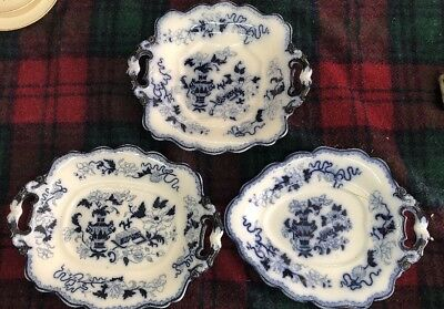 3x ANTIQUE BLUE PLATEs WR S CO RIDGEWAY SONS IMPERIAL STONE
