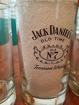 5 JACK DANIEL'S NO. 7 OLD TIME Glasses TENNESSEE WHISKEY Collins High Ball Bar