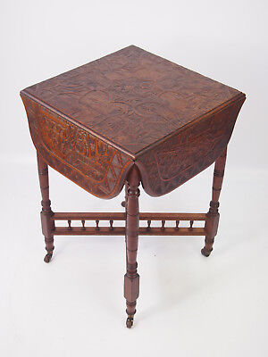 Antique Edwardian Carved Walnut Table - Carved Drop Leaf Card Games Coffee Table