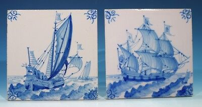 Pair of Decorative Nautical Handpainted Blue & White Glazed Pottery Tiles.