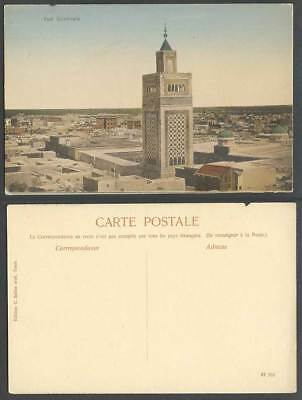 Tunisia Old Colour Hand Tinted Postcard Tunis, General View Vue Generale, Tower