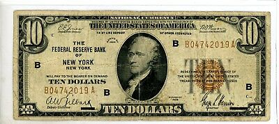 1929 $10 Dollar Bill New York Federal Reserve  Banknote Currency #2019