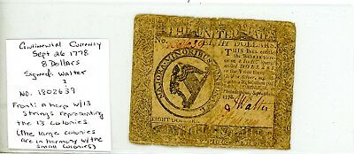 Continental Currency. September 26, 1778. $8. # 639