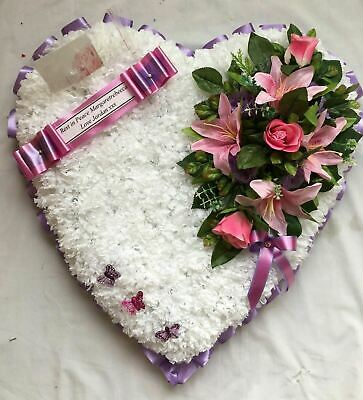 Artificial Silk Funeral Flower Heart Wreath Tribute Memorial Large Mum Nan Gran
