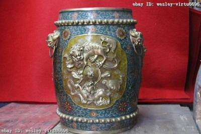 Chinese Bronze Copper Cloisonne Palace Feng Shui Six Fu Foo Dog Lion stool seat
