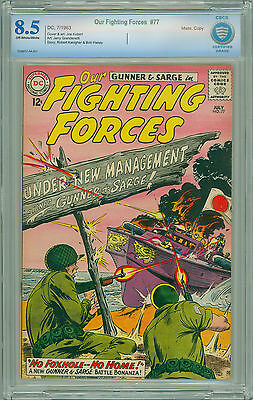 Our Fighting Forces # 77 CBCS 8.5 VF+ NOT CGC Joe Kubert Cover & Art 1963