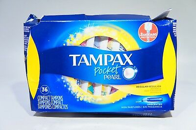 Tampax Pocket Pearl Plastic Tampons, Regular Absorbency, Unscented, 36 ct (H-17)