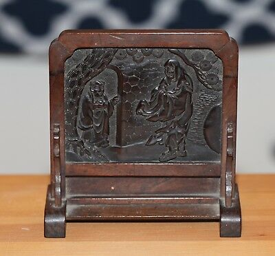 Antique Chinese carved Qing Black Wood Calligraphy Table Screen, PROVENANCE.
