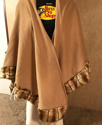 Vintage Large XLarge Trimmed Wrap Cape Shawl by Reba EUC Faux Fur FREE SHIPPING