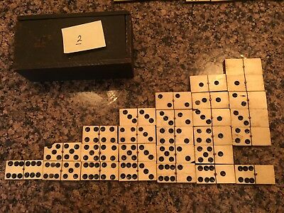 Antique Handmade Bone & Ebony Double-Six Domino -Partial Set - 27 Pieces, 19thC.