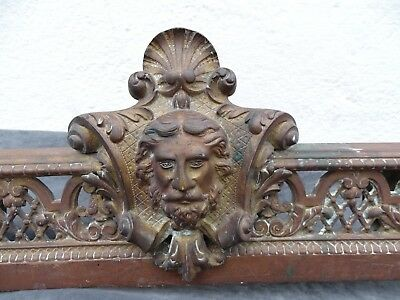 Large Antique French Bronze Andirons Chenets Fireplace Set -Femelle & Male Face