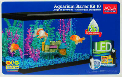 Fish Tank Aquarium 10 Gallon Starter Kit Led Light Tetra Water Filter Terrarium