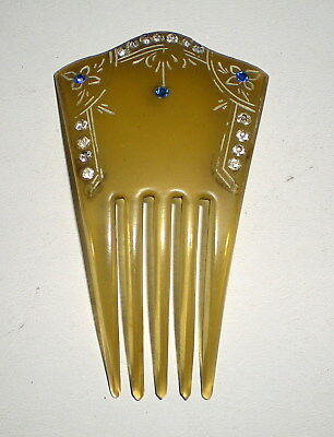 """Small Vtg Clear And Blue Rhinestone Celluloid Hair Comb - 3.25"""" X 1.75"""""""