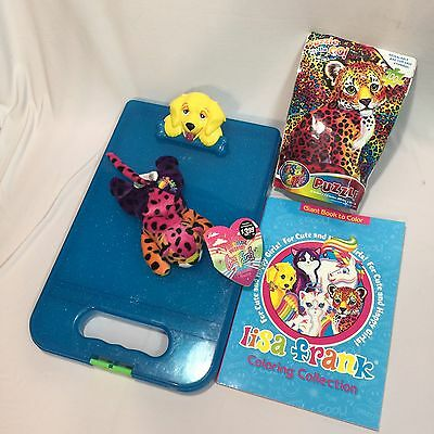 🐯Lisa Frank Yellow Dog Clipboard Beanie Leopard Colorful Puzzle & Coloring Book