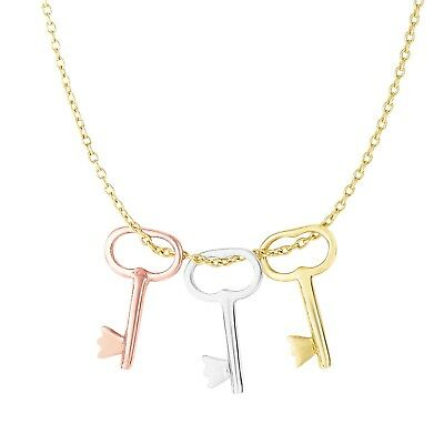 """14kt 17+1"""" Ext.Yellow+White+Rose Gold 3 -Tri-Color Shiny Key On link chain"""