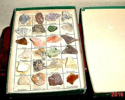 1960's Lot of 24 Natural Gemstone Collection Jewels In The Rough With Box Great.