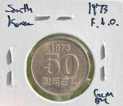 *Better Date* South Korea 1973 F.A.O. 50 Won CH Unicirculated, Nice Coin!