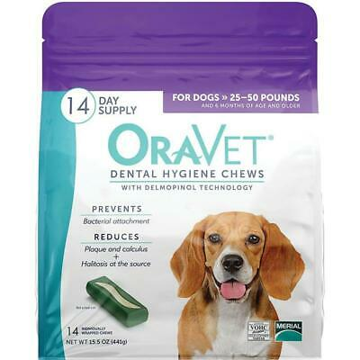 Oravet Dental Hygiene Chews Dogs 25-50lbs 14ct By Merial