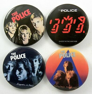 THE POLICE BADGES 4 x Large Police Pin Badges * Sting *