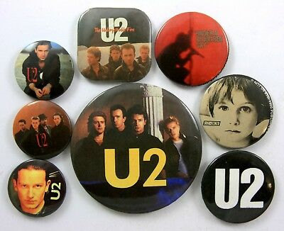 U2 BUTTON BADGES 8 x Vintage U2 Pin Badges * Bono *