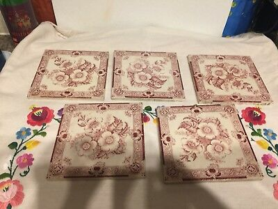 "6"" Square Pink And White Tiles X6 Vintage?"