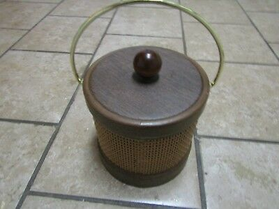 Kraftware Ice Bucket Faux Wicker and Wood Design