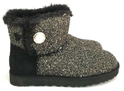 edec2bbc976 Ugg Mini Bailey Button Fancy Pearl Button Accent Tweed Construction Women's  Boot