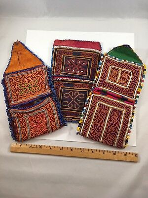 Vtg-Thai Sm Pouches-Clutches-Purse-Lot Of 3-Beaded-Embroidered-Thailand-Se Asia