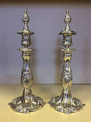 Rare Pair Of Reed & Barton Silver Candlesticks With Flame Finials, Pattern 741