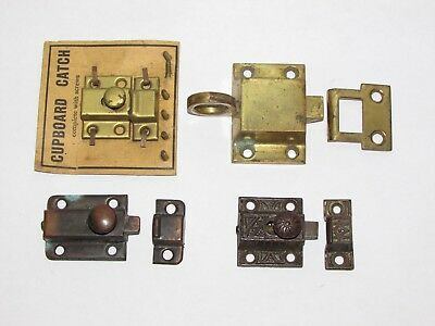 4 Vintage Brass Cabinet Pantry Jelly Cupboard Furniture Latch Catch Lot NOS