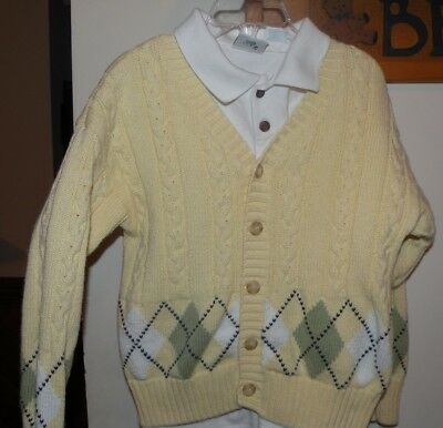 Boy's KITESTRINGS sz 7 Yellow Cable Knit Cardigan and White Polo Shirt Easter