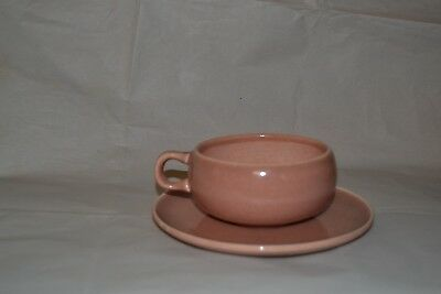 RUSSEL WRIGHT Coral Pink  CUP & SAUCER  STEUBENVILLE American Modern