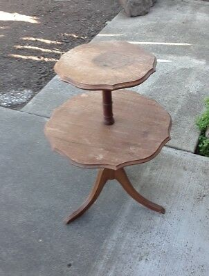 "Vintage Antique 2 Tier Pie Crust Edge Round 28"" End Side Table Free Shipping"