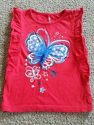 girls red white and blue patriotic butterfly shirt size 3T
