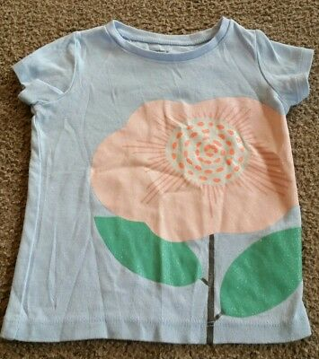 girls blue with pink sparkly flower Carter's shirt size 3T