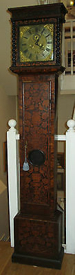 London Longcase Grandfather Clock bird floral Marquetry c1700 Antique Signed