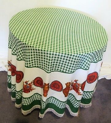 TABLE CLOTH Genuine 1960s VINTAGE Round border print FRINGE Tablecloth Retro