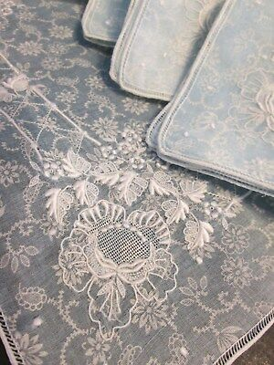 12 Pc Antique Vtg Madeira Embroider French Organdy Floral Design Napkin Placemat