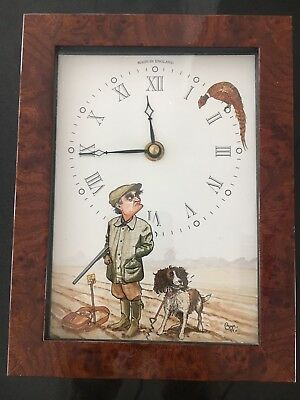 Bryn Parry Studios Hunting Scene With Dog And Pheasant Desk Clock Made InEngland