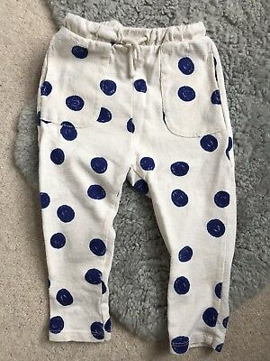 Zara Toddler cream Joggers with blue spots - 12-18 Months - with a few marks