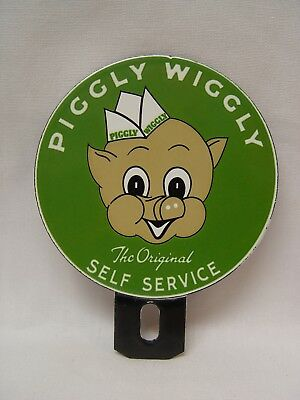 Piggly Wiggly Grocery Store Self Service Porcelain 2-Piece License Plate Topper