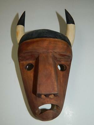 HAND CARVED WOOD INDIAN MASK CHEROKEE NC DAVIS WELCH BUFFALO w/HORNS SIGNED