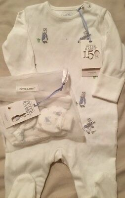 Mothercare Peter Rabbit ( 150 Years ) Babygrow & Hat And Mitts Set 0-3 Months