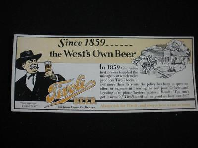 "1940's Denver Tivoli Beer ""The Western Aristocrat"" Ink Blotter / Look!"